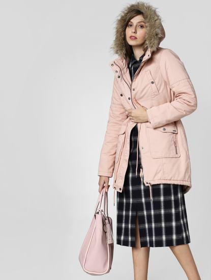 Pink Fur Hood Parka Coat