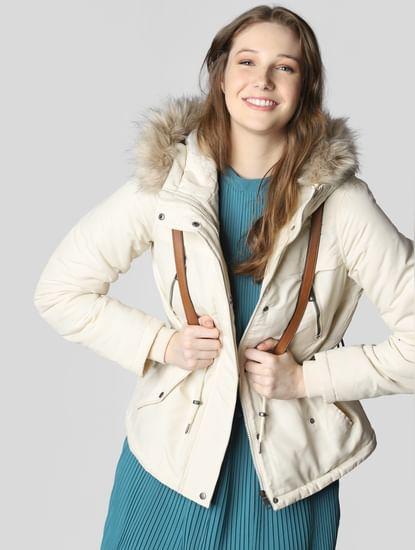 Beige Hooded Parka Coat