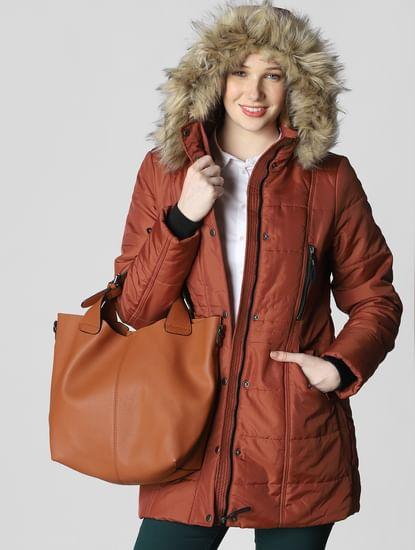 Brown Fur Hood Parka Coat