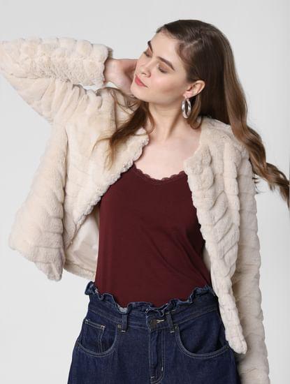 Beige Faux Fur Short Jacket