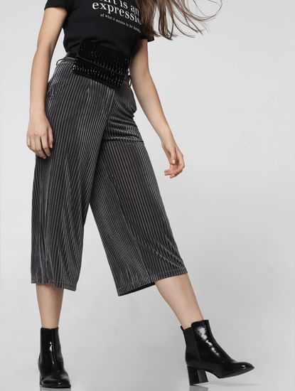 Grey Mid Rise Textured Culottes