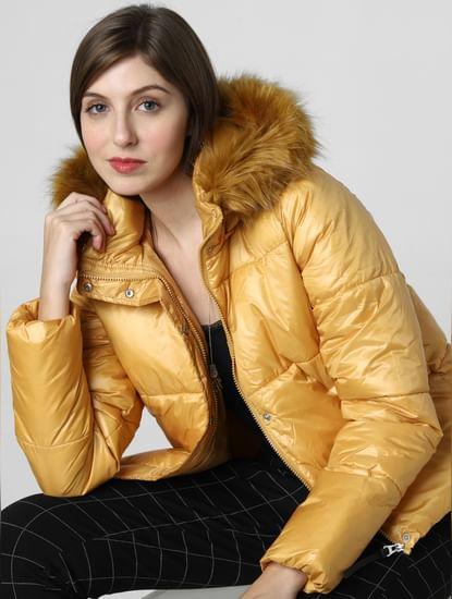 Yellow Fur Hood Puffer Jacket