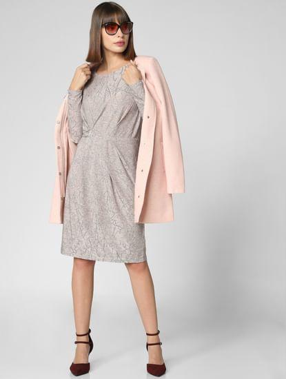 Light Pink All Over Print Shift Dress