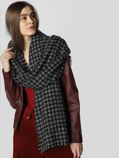 Black Houndstooth Print Scarf