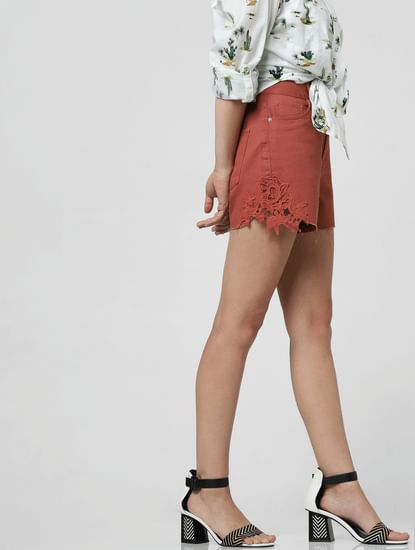 Brown High Rise Crochet Detail Shorts