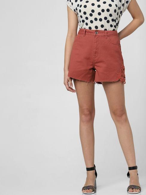 Brown High Rise Crochet Detail Shorts
