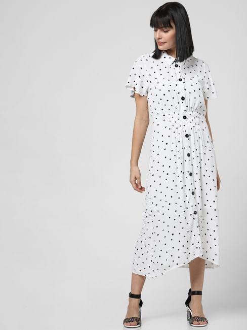 White All Over Print Midi Dress