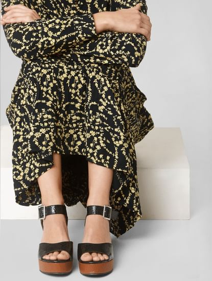 Black Snakeskin Print Heels
