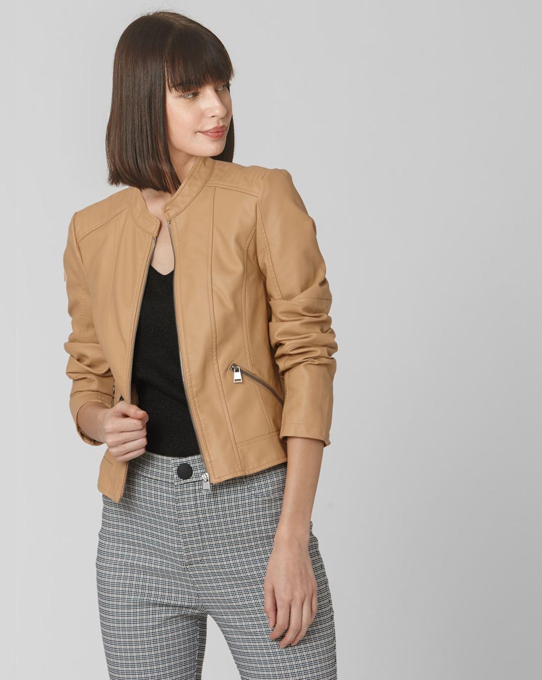 Buy Women Tan Faux Leather Biker Jacket online | VeroModa