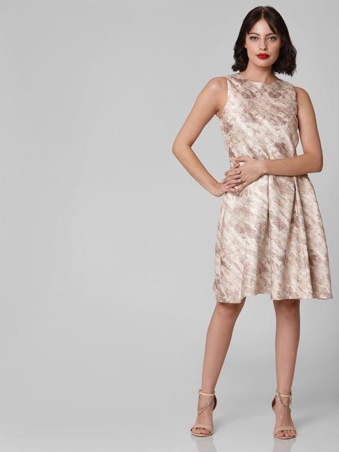 Beige Self Design Fit & Flare Dress