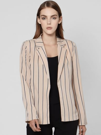 Beige Striped Casual Blazer