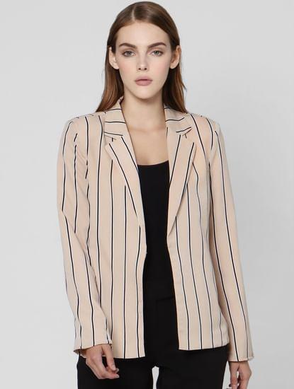 Beige Striped Casual Blazer