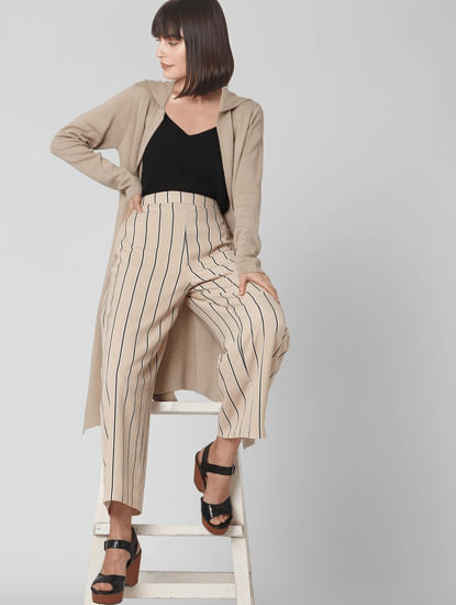 Beige Striped High Waist Pants