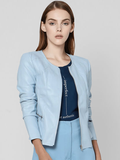 Powder Blue Faux Leather Cropped Biker Jacket