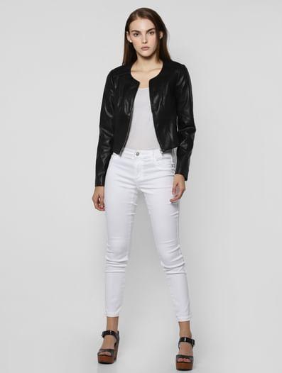 Black Faux Leather Short Bomber Jacket