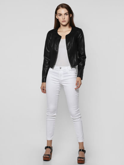 Black Faux Leather Short Bomber Jacket