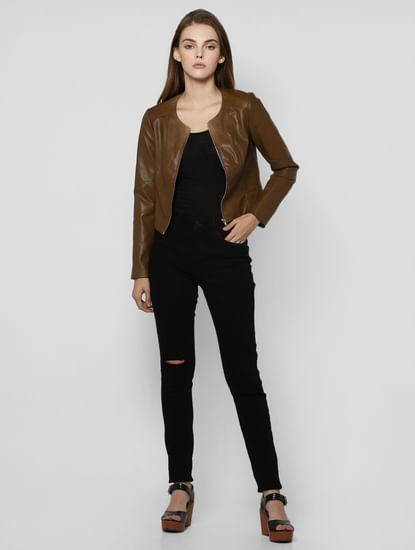 Brown PU Bomber Jacket