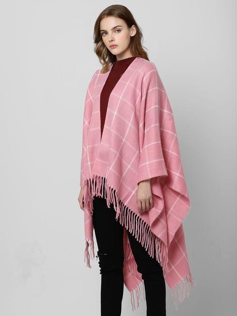 Pink Check Poncho
