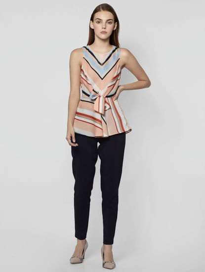 Pink Colourblocked Striped Front Tie Top
