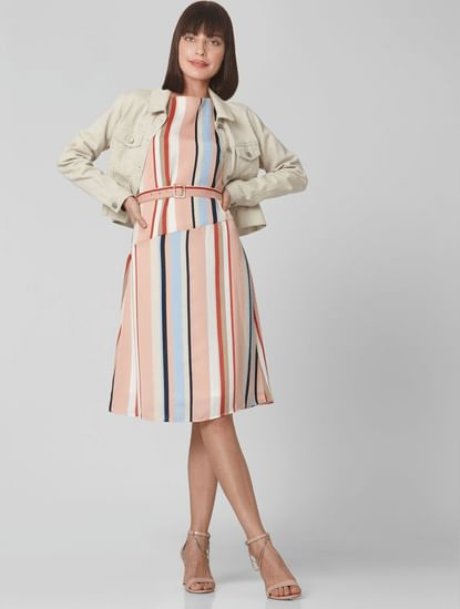 Pink Colourblocked Striped Shift Dress