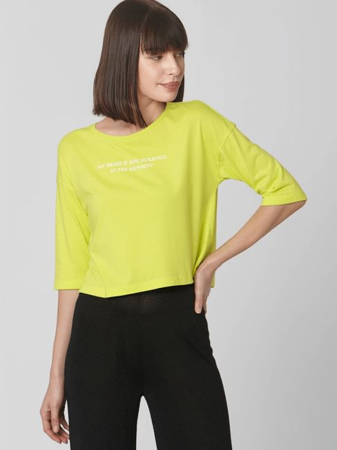 Yellow Text Print Cropped T-Shirt