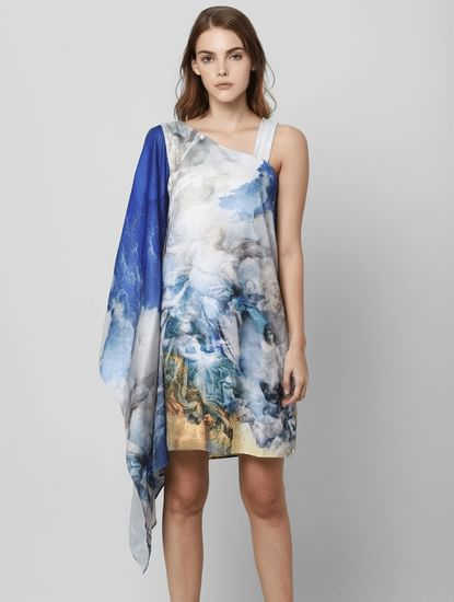 Blue Printed One Shoulder Sheath Dress