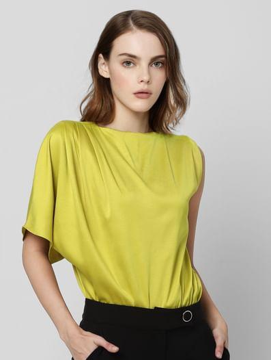 Yellow One Sleeve Bodysuit Top