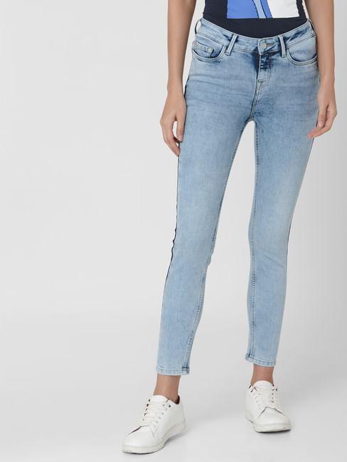 Light Blue Mid Rise Side Wash Detail  Skinny Jeans