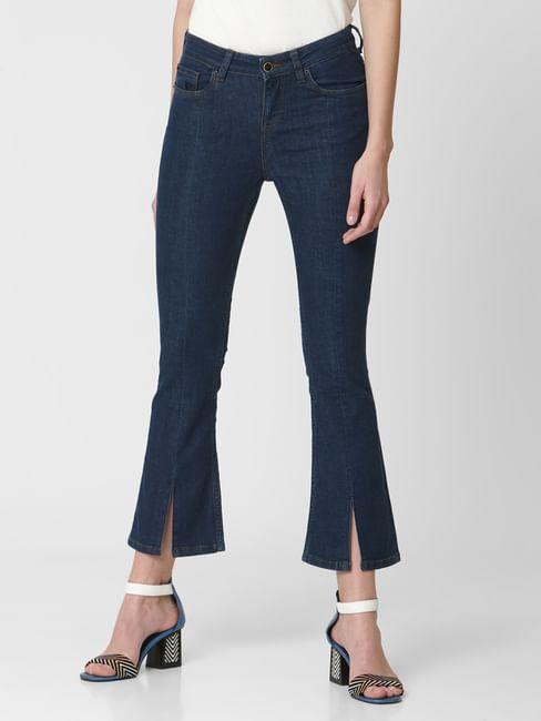 Dark Blue Mid Rise Boot Cut Jeans