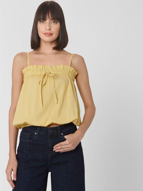 Yellow Sleeveless Tie Up Top