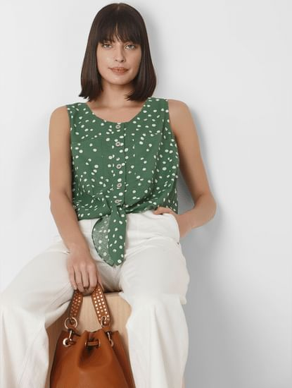 Green Polka Dot Front Knot Top