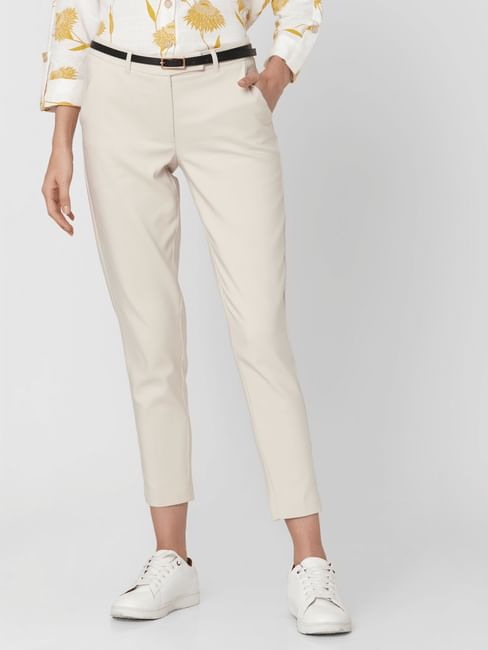 Beige Mid Rise Slim Fit Formal Trousers