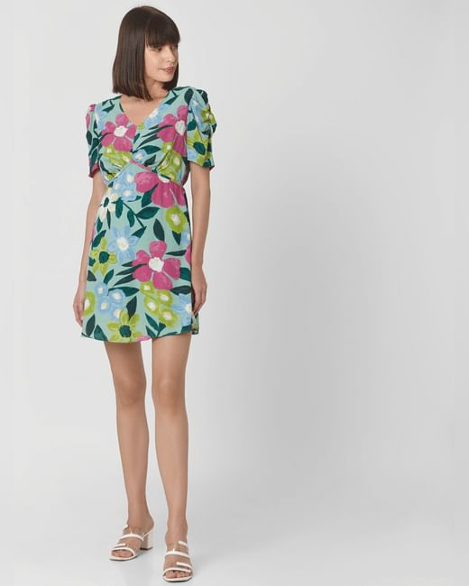 Green All Over Floral Print Mini Dress