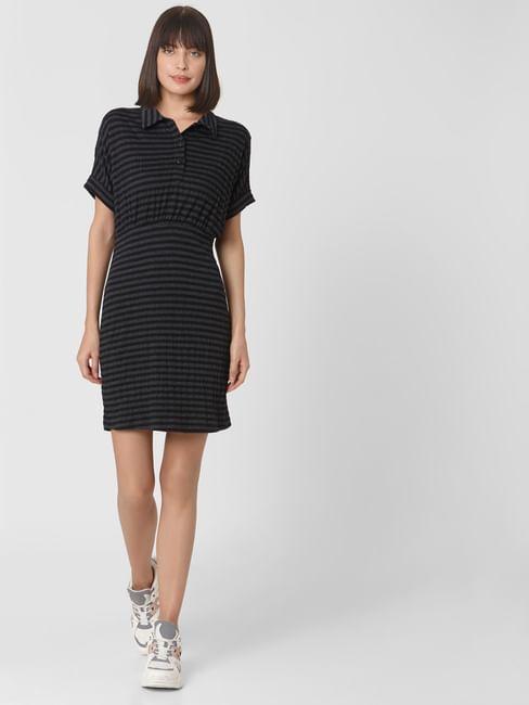 Black Striped Fit & Flare Dress