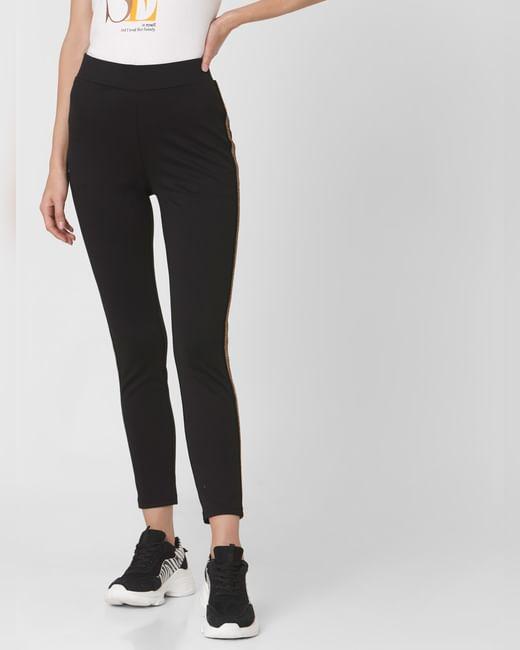 Black High Rise Shimmer Tape Detail Leggings