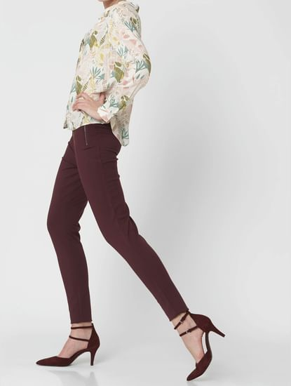 Wine High Rise Zip Detail Leggings