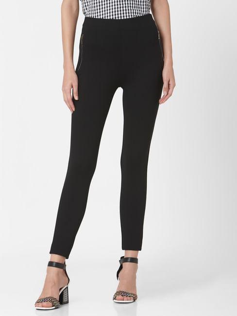 Black High Rise Zip Detail Leggings