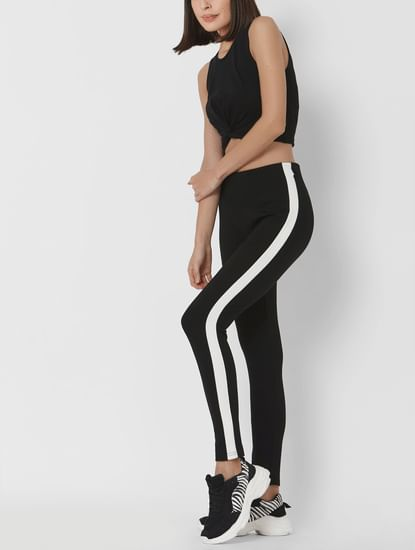 Black High Rise Tape Detail Leggings