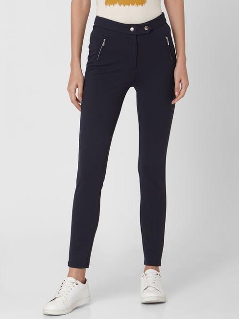 Navy Blue High Rise Zip Detail Leggings