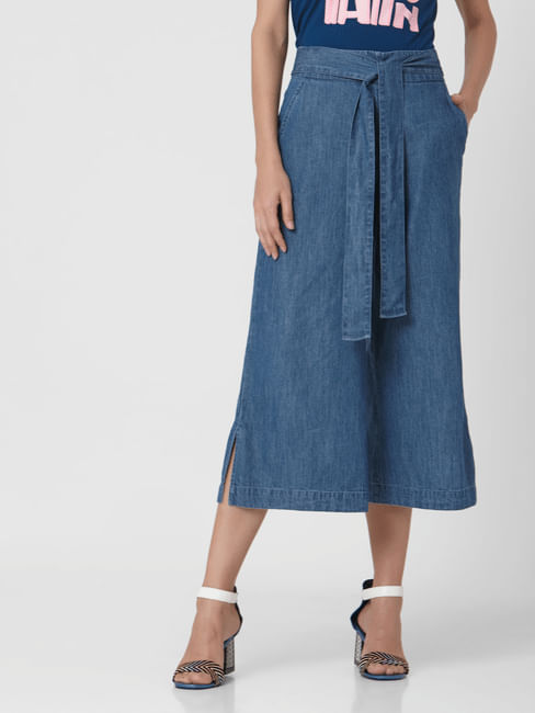 Blue High Rise Front Tie Culottes