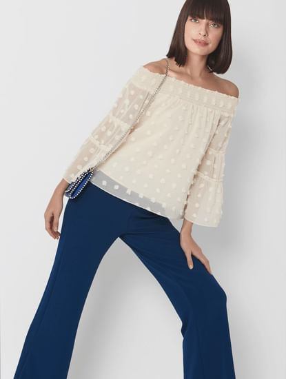 Puffy Polka Off Shoulder Top