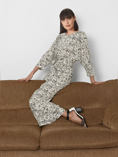 White All Over Print Jumpsuit