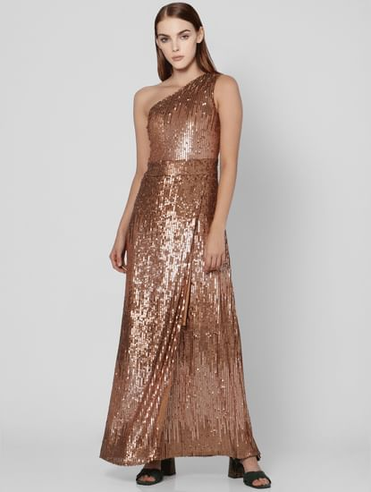Brown One Shoulder Sequin Maxi Dress
