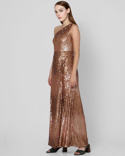 Brown One Shoulder Sequin Maxi Dress