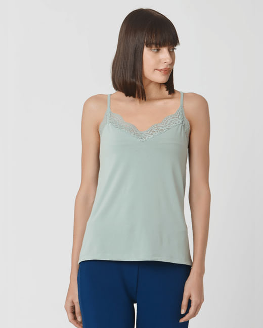 Green Sleeveless Lace Top