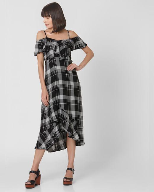 Black Check Cold Shoulder Midi Dress