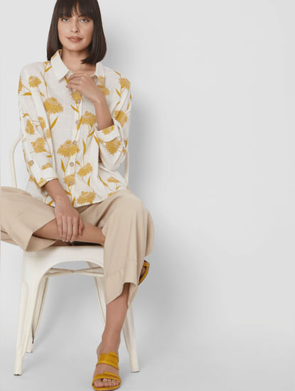 Beige Floral Shirt