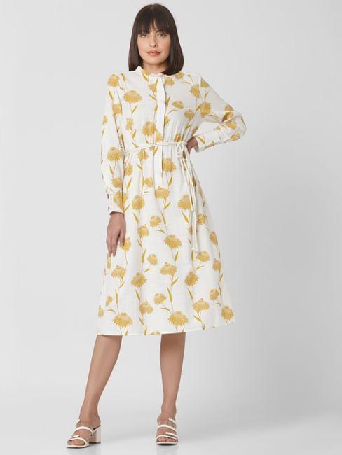Beige High Neck Floral Print Midi Dress