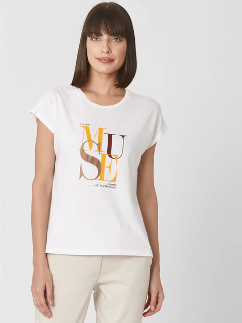 White Typography Print T-shirt