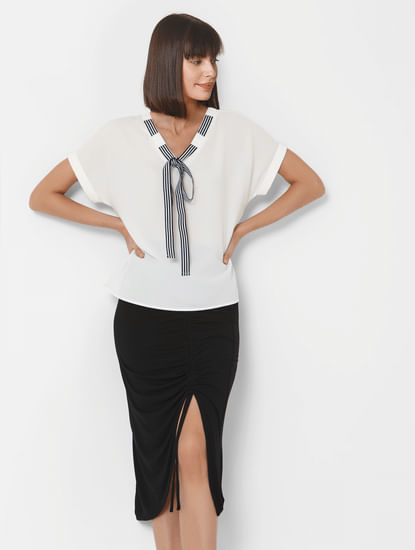 White Striped Neck Tie Top